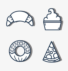 set croissant and donut with pizza slice and vector image