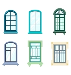 Set of isolated house window frames vector