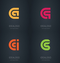 Set of logos with letters C A Q I S Initial vector image