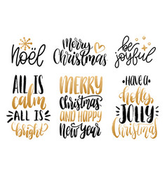 set of new year hand lettering christmas vector image