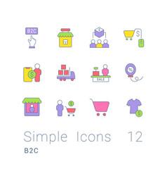 Set simple line icons b2c vector