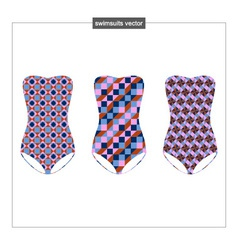 Set sketches swimwear with a geometrical patter vector