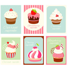 set vintage vertical card with cupcakes vector image