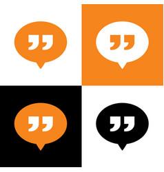Speech bubbles with quotation mark logo icon vector