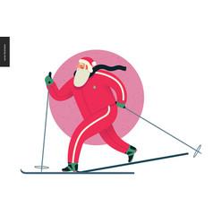 Sporting santa - winter ski running vector