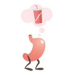 Stomach thinking a soda vector