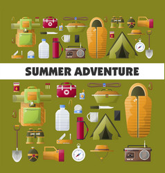 Summer camping adventure poster vector