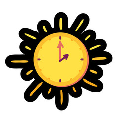 sun clock flat color vector image