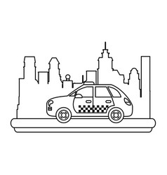 Taxi cab vehicle in the city in the city vector