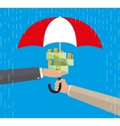 Umbrella to protect money vector
