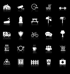 Village icons with reflect on black background vector