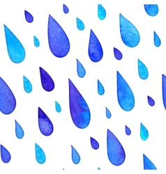 Watercolor painted rain drops seamless pattern vector image
