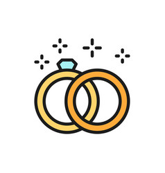 wedding rings flat color line icon vector image