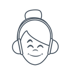 woman with music headphones vector image