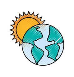World planet earth with sun vector
