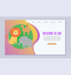 zoo cartoon animal welcome vector image