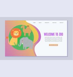 Zoo cartoon animal welcome vector
