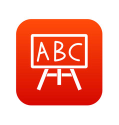 chalkboard with the leters abc icon digital red vector image