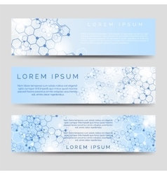 Chemical banners with molecular ctructure vector image vector image