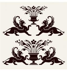 set of heraldic ornaments vector image vector image