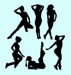 sexy girls pose and action silhouette vector image