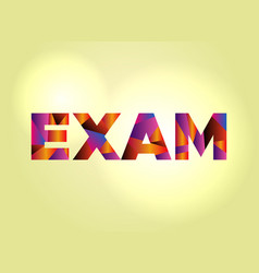 Exam concept colorful word art vector