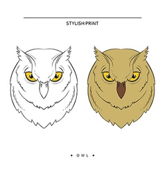 Isolated set of sketch owls Color and monochrome vector image