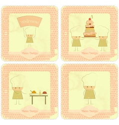 Vintage Set of kids menu vector image