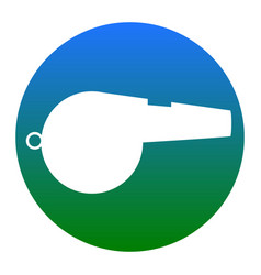 whistle sign white icon in bluish circle vector image