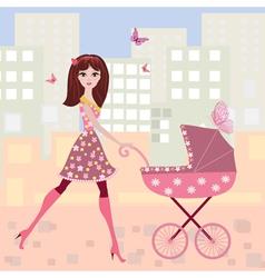 Woman pram9 vector image vector image