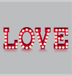 love word with lightbulbs isolated vector image vector image