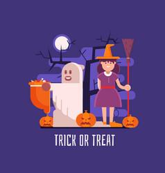 trick or treat kids halloween card vector image