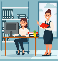 businesswoman standing at her subordinate and vector image