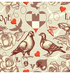 Love birds seamless pattern vector