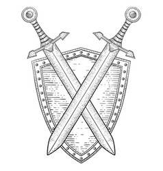shield with crossed swords hand drawn sketch vector image