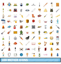 100 metier icons set cartoon style vector image
