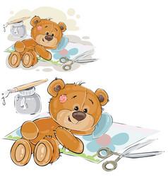 a brown teddy bear glues a vector image
