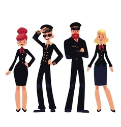 Airplane crew of pilots and stewardesses cartoon vector