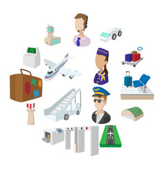 Airport cartoon icons vector