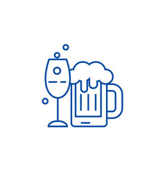 alcoholic drinks line icon concept alcoholic vector image