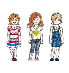 beautiful little girls cute children standing vector image