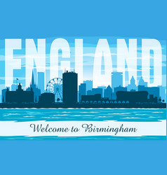 birmingham united kingdom city skyline silhouette vector image