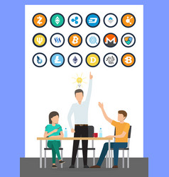 bitcoin currency idea male conference vector image