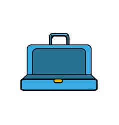 Blue elegant suitcase open vector