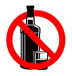 Bottle of alcohol drink and stemware in no allowed vector