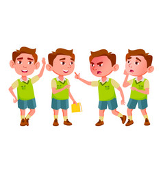 boy kindergarten kid poses set baby vector image