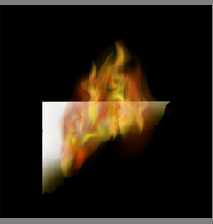 Burning white paper with fire flame vector