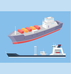 Cargo ship and rescue police boat marine vessels vector