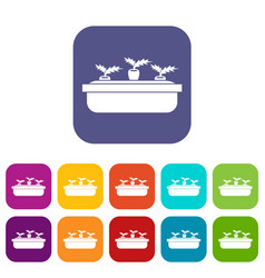 Carrots in a wooden pot icons set vector