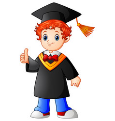 Cartoon boy graduation giving thumbs up vector